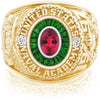 USNA Class Ring, Red Tourmaline, Eternal MX™ Emerald.
