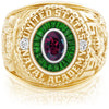 USNA Class Ring, Rhodolite Garnet, Eternal MX™ Emerald.