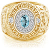 USNA Class Ring, Sky Blue Topaz, Pro M12™ Diamond.