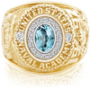 USNA Class Ring, Sky Blue Topaz, Pro M18™ Diamond.