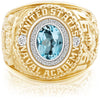 USNA Class Ring, Sky Blue Topaz, Pro M26™ Diamond.