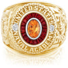 USNA Class Ring, Spessartite Garnet, Eternal MX™ Ruby.