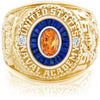 USNA Class Ring, Spessartite Garnet, Eternal MX™ Sapphire.