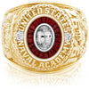 USNA Class Ring, White Sapphire, Eternal MX™ Garnet.