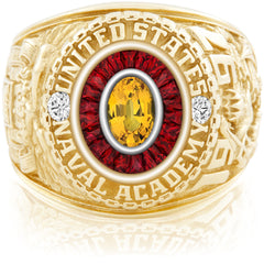 USNA Class Ring, Yellow Sapphire, Eternal MX™ Ruby.