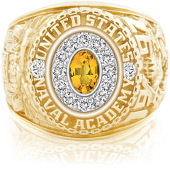 USNA Class Ring, Yellow Sapphire, Pro M12™ Diamond.