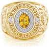 USNA Class Ring, Yellow Sapphire, Pro M18™ Diamond.