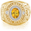 USNA Class Ring, Yellow Sapphire, Pro M26™ Diamond.