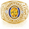 USNA Class Ring, Yellow Sapphire, Pro M26™ Go Navy Low Tide Mod™.