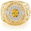 USNA Class Ring, Yellow Sapphire, ProPlus M12™ Diamond.