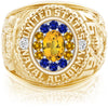 USNA Class Ring, Yellow Sapphire, ProPlus M12™ Go Navy High Tide Mod™.