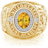 USNA Class Ring, Yellow Sapphire, ProPlus M18™ Diamond.