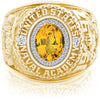 USNA Class Ring, Yellow Sapphire, ProPlus M26™ Diamond.