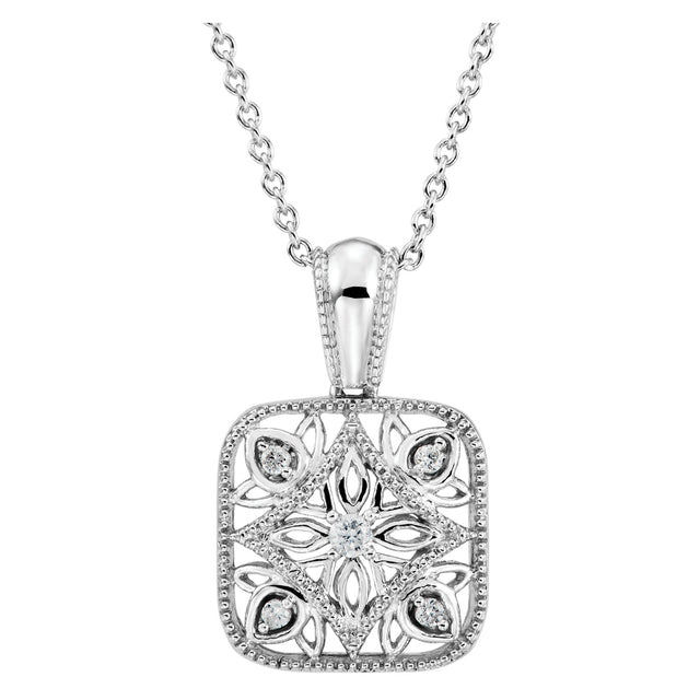 Diamond Accented Silver Necklace (67984-100) Front