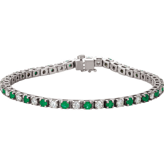 Emerald and Diamond Line Tennis Bracelet (RGJ62078) 14kt White Gold