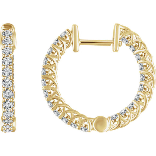 Diamond Hoop Earrings (RGJ652854) 14kt Yellow Gold