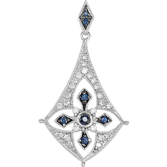 Diamond Sapphire Sterling Silver Pendant (69528-5787) Front