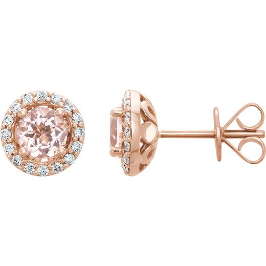 Morganite Diamond Stud Earrings (651986-60000) Side