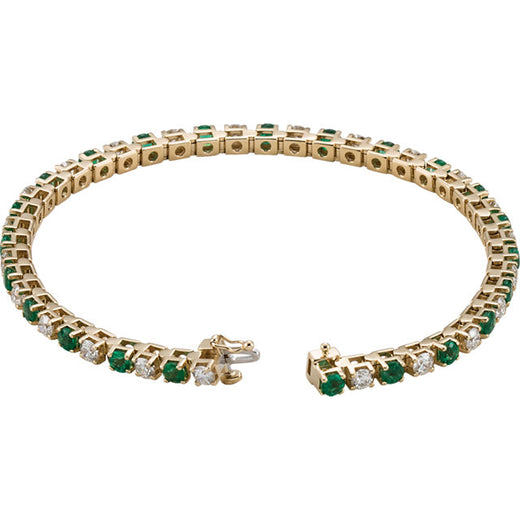 Emerald and Diamond Line Tennis Bracelet (RGJ62078) 14kt Yellow Gold