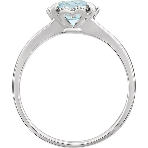 White Gold Aquamarine and Diamond Ring (RGJ651952-60003) Side