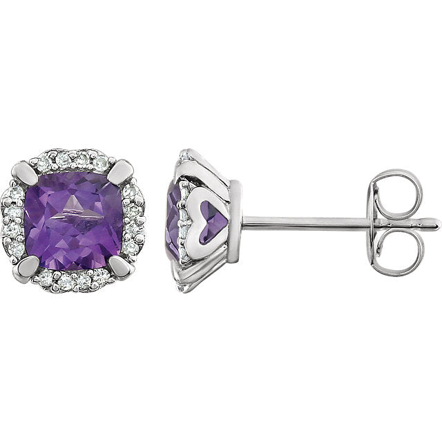 Amethyst and Diamond White Gold Stud Earrings (RGJ651954-60002) Side