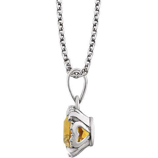 Citrine Pendant and Diamonds (651953-60011) Side