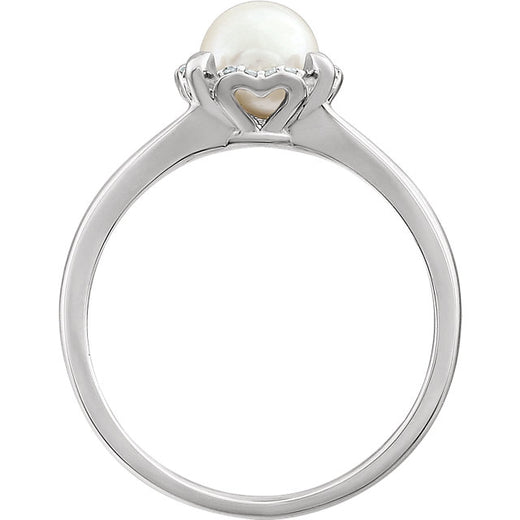 White Gold Pearl and Diamond Ring (RGJ6519520-60006) Side