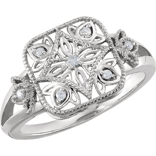 Sterling Silver Diamond Ring (68938-107) Top