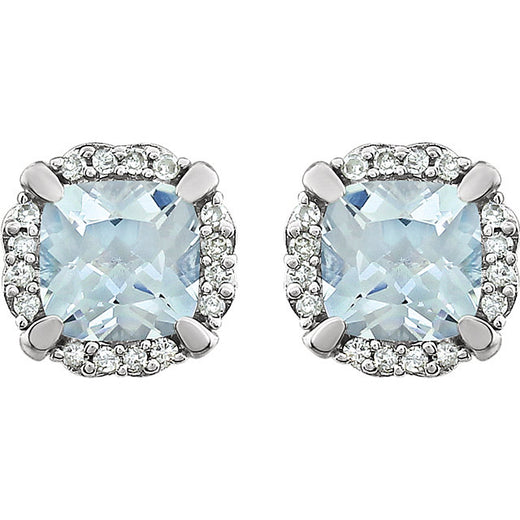 Aquamarine and Diamond White Gold Stud Earrings (RGJ651954-60003) Front