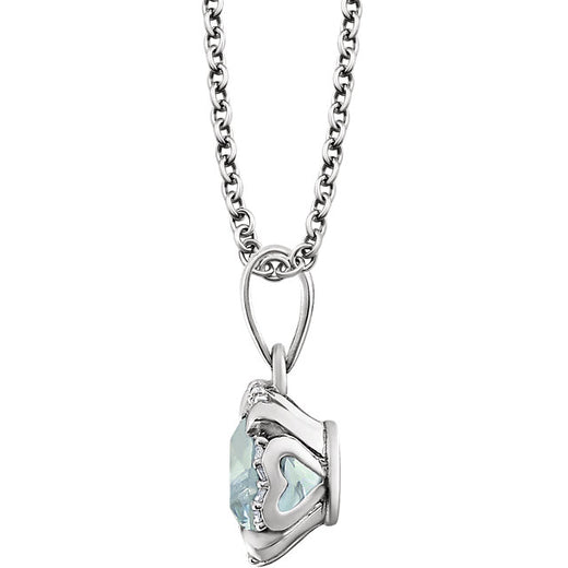 Aquamarine and Diamonds White Gold Pendant (RGJ651953-60003) Side