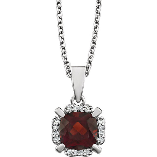 Garnet and Diamonds White Gold Pendant (RGJ651953-60001) Front