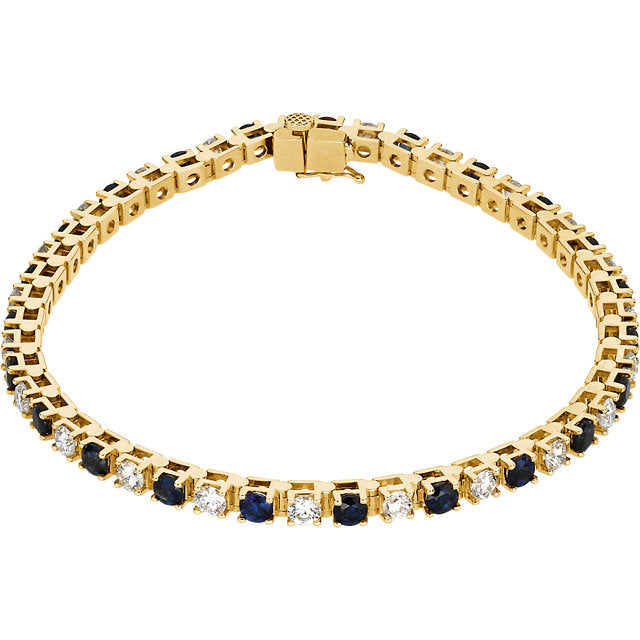Blue Sapphire and Diamond Line Tennis Bracelet (RGJ62074) 14kt Yellow Gold