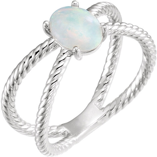 Opal Sterling Silver Ring (RGJ71933) Angle