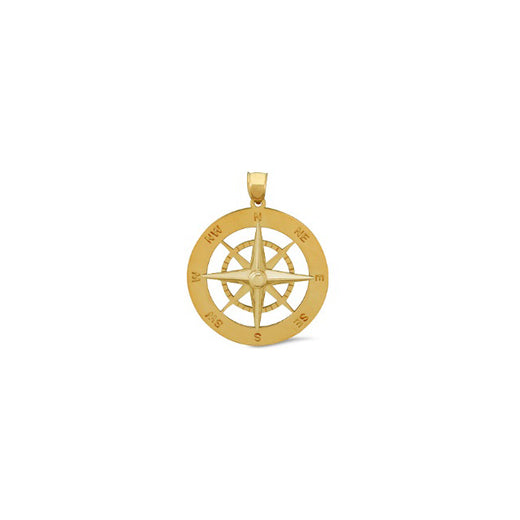 Nautical Compass Yellow Gold Pendant Sm (RGJNAC-418) Front