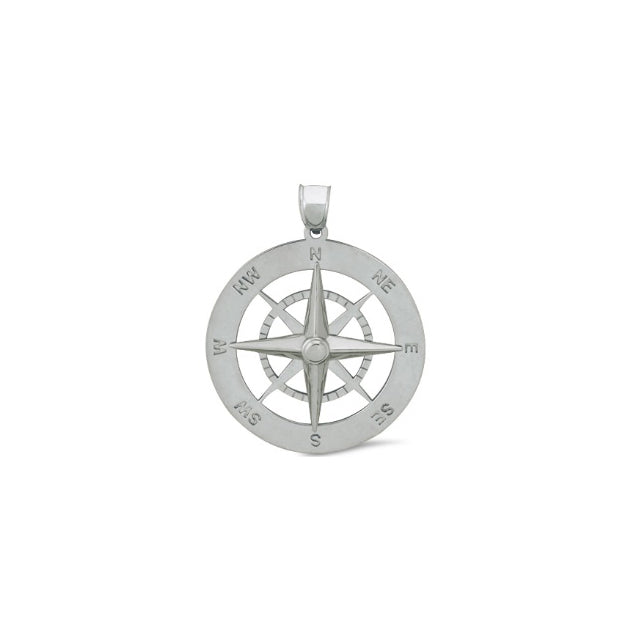 Nautical Compass Sterling Silver Pendant Md (RGJSSC-653) Front