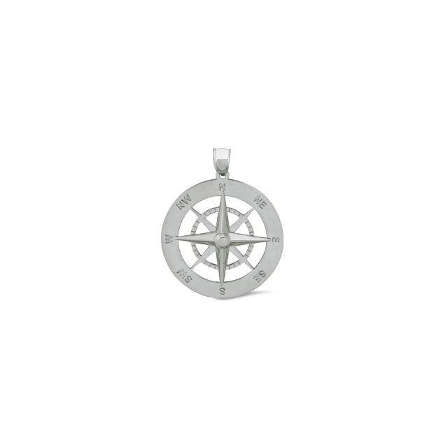 Nautical Compass Sterling Silver Pendant Sm (RGJSSC-675) Front
