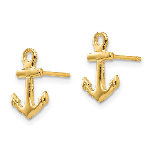 14k yellow gold anchor earrings side