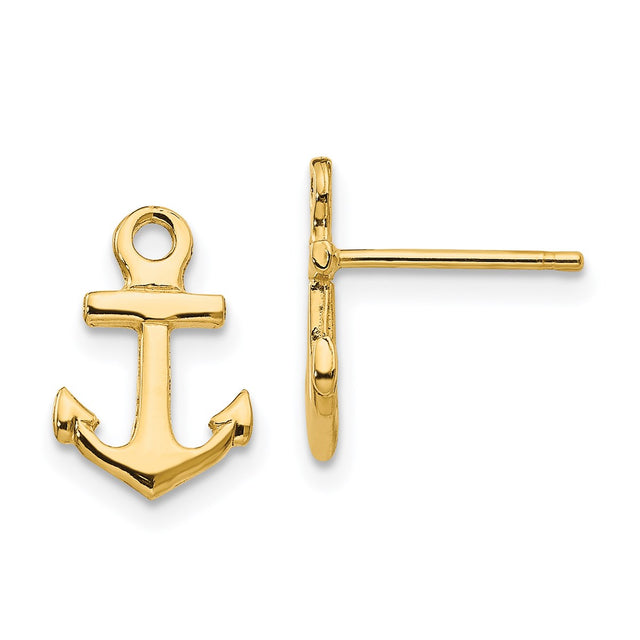 14k yellow gold anchor earrings.