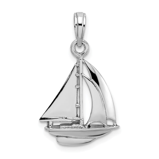 Sailboat charm in 14k white gold with bail. Front