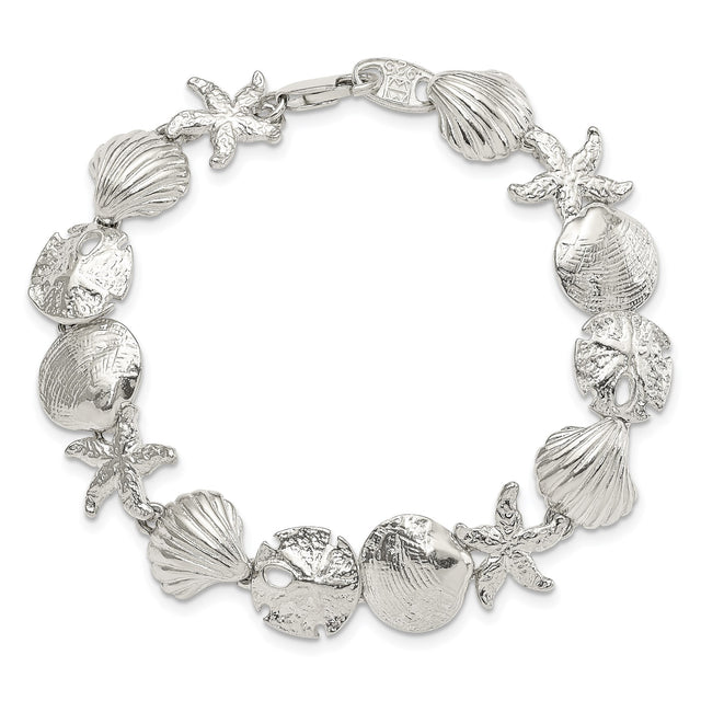 Nautical inspired bracelet in solid sterling silver with starfish, sand dollar, and shell charms. Whole clasped