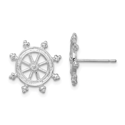 Ship's wheel post earrings in sterling silver. Front and Side
