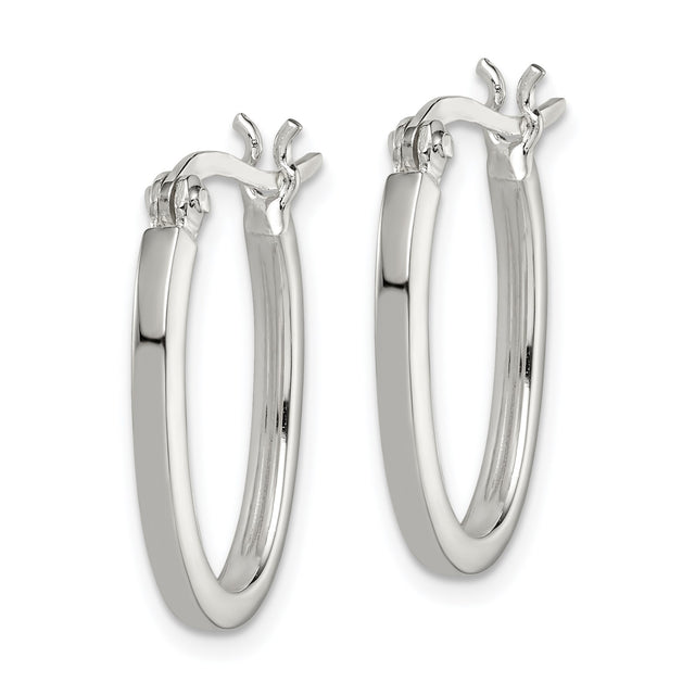 Sterling silver square hoop earrings in 2mm. Angled