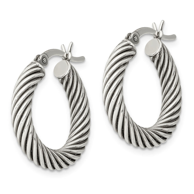 Sterling Silver Antiqued Open Twist Hoop Earrings (RGJQE6728) Pair
