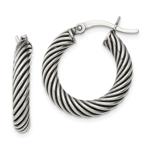 Sterling Silver Antiqued Open Twist Hoop Earrings (RGJQE6728) Detailed