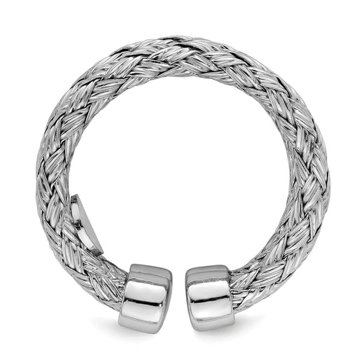 Sterling silver adjustable ring with double strand braid design. Side