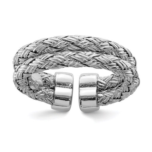 Sterling silver adjustable ring with double strand braid design. Angled