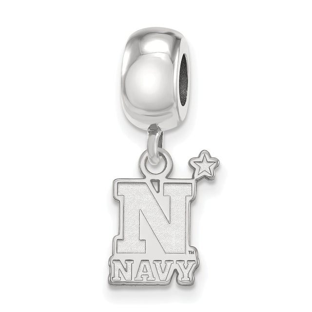 Navy logo bead charm U.S.N.A. sterling silver bead charm dangle. Angle