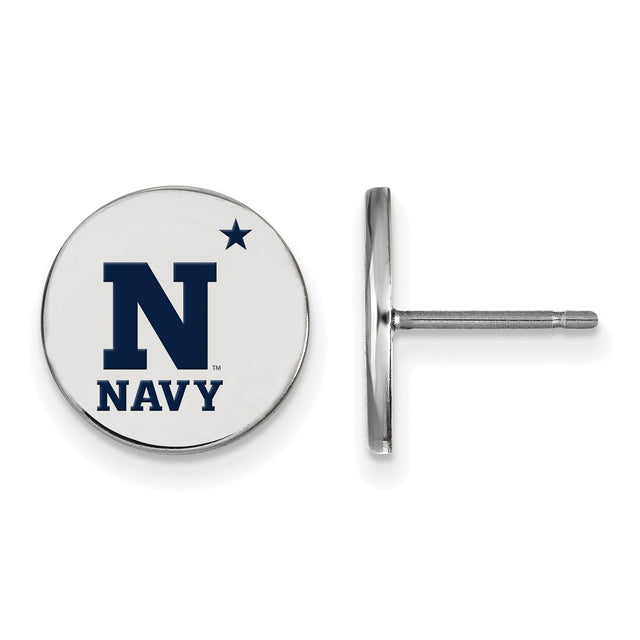 United States Naval Academy logo earrings with navy blue enamel in sterling silver. Front