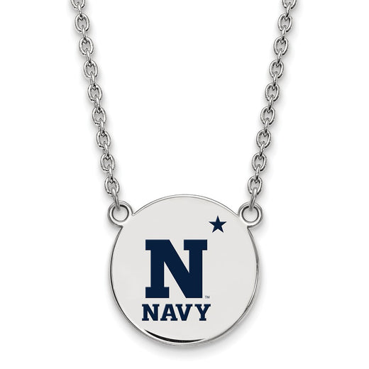 USNA Sterling Silver Disc Enamel Necklace (RGJSS019USN-18) Front