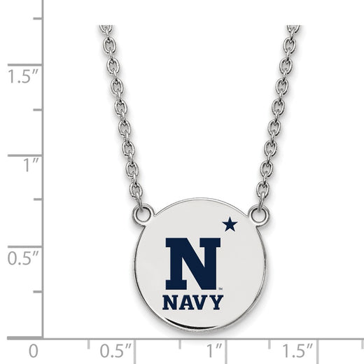 USNA Sterling Silver Disc Enamel Necklace (RGJSS019USN-18) Size